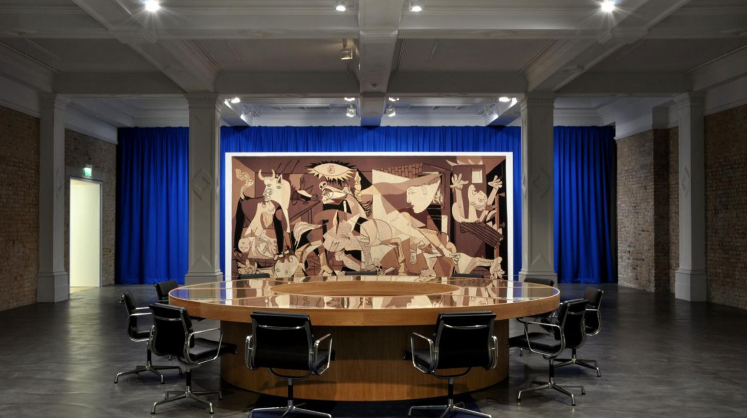 Picasso's Guernica as tapestry, featured in Nature of the Beast, Goshka Macuga installation, 2009. Courtesy of Whitechapel Gallery.