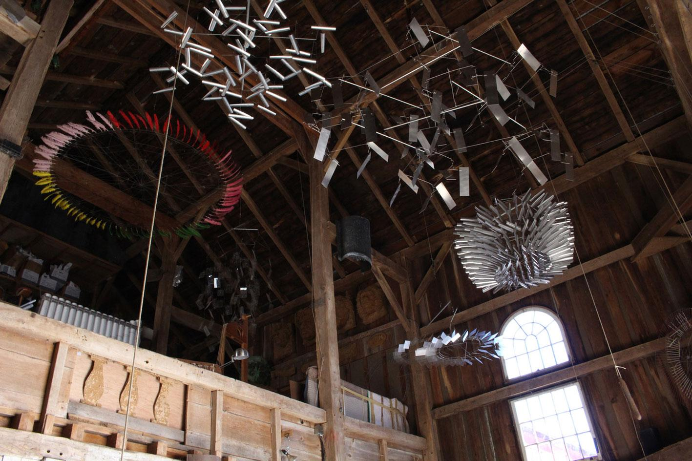 interior of Tim Prentice'sConnecticut-based studio with finished sculptires and worksin progress