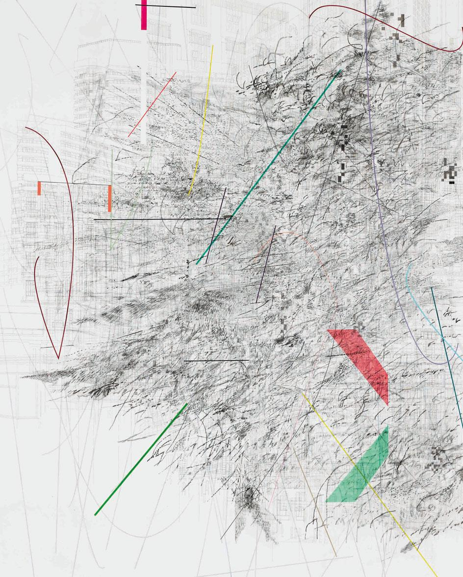 Julie Mehretu, Mogamma (A Painting in Four Parts) (1 of 4), 2012