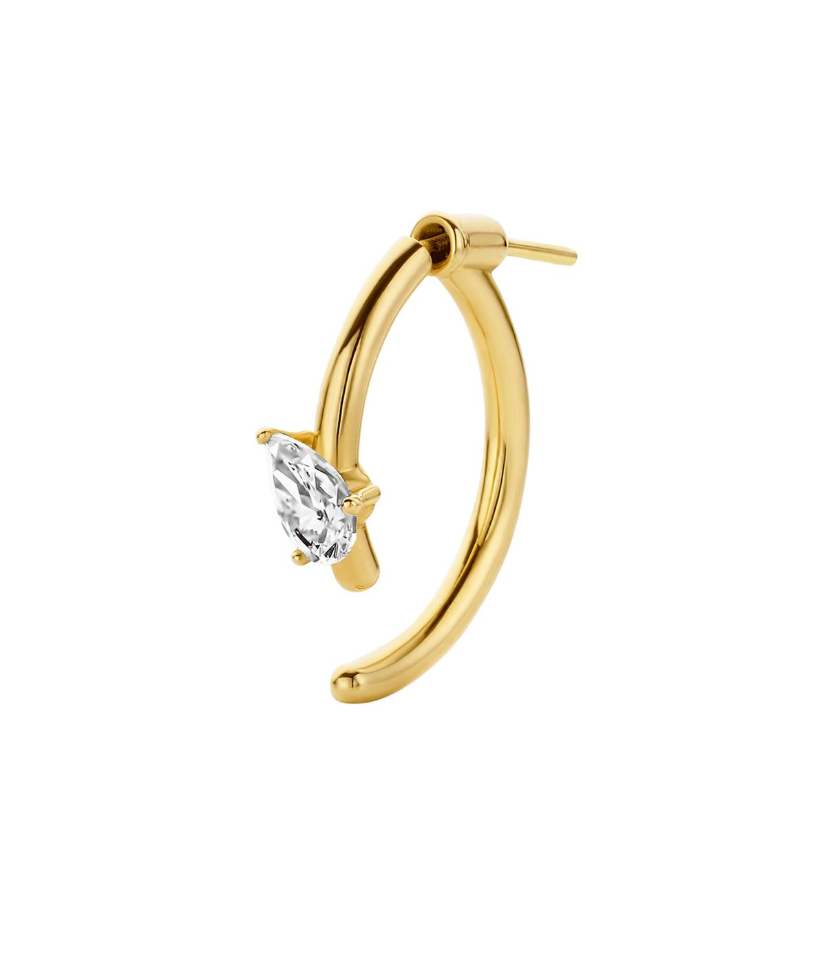 gold hoop with pear shaped diamond