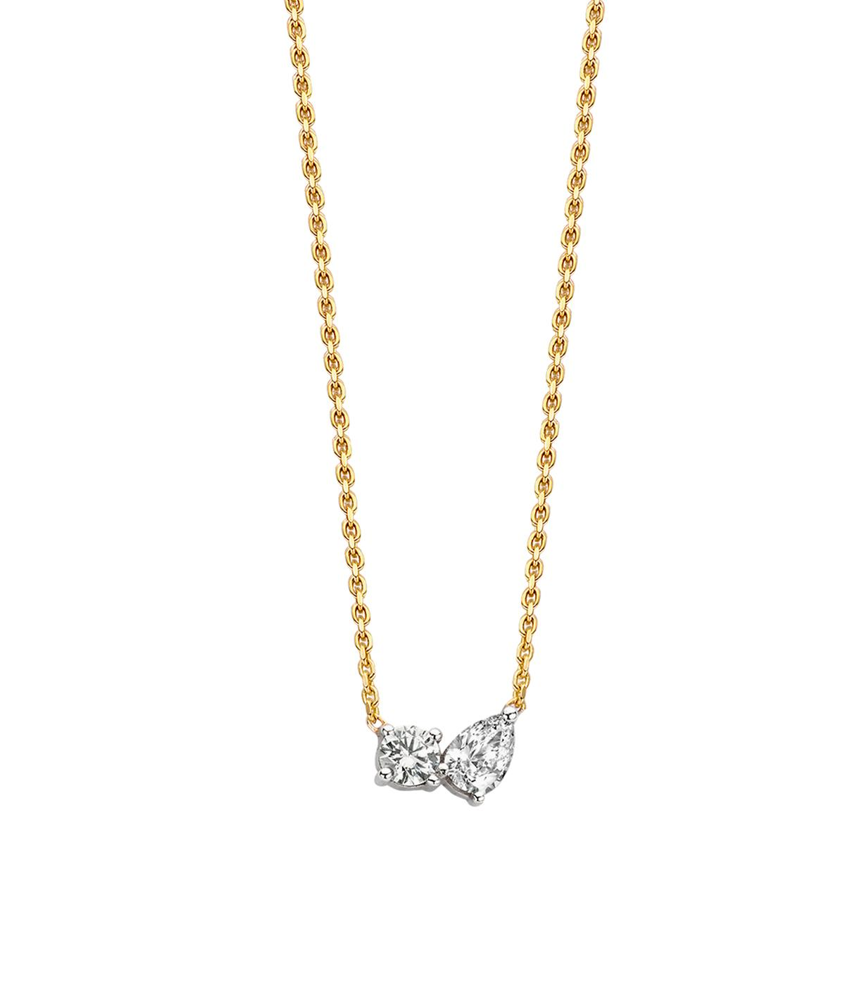 gold chain with pear cut diamonds on