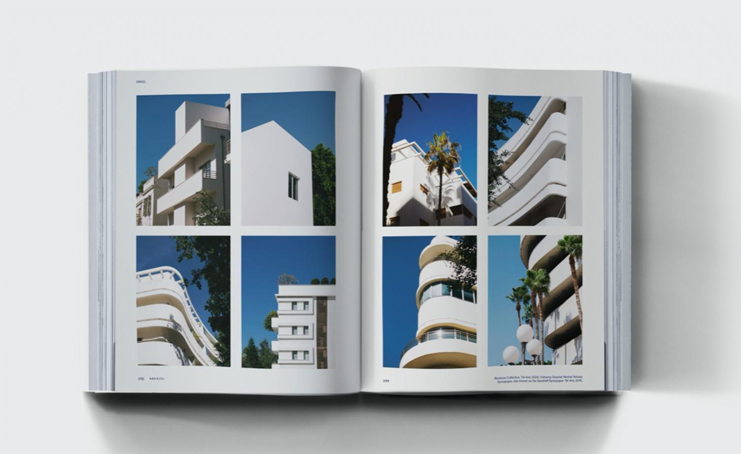 Pictures from the inside of kiss and fly augmented reality travel book, showing exterior of white building against blue sky