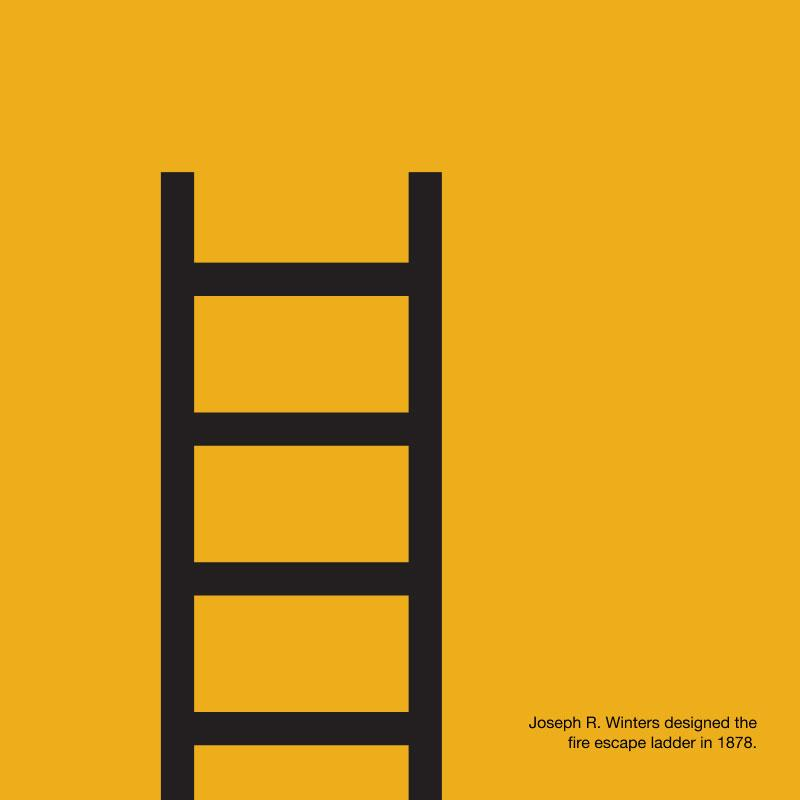 A graphic with a yellow background and stylized illustration of a black ladder, with text explaining that the fire escape was originally conceived by Joseph R. Winter in 1878
