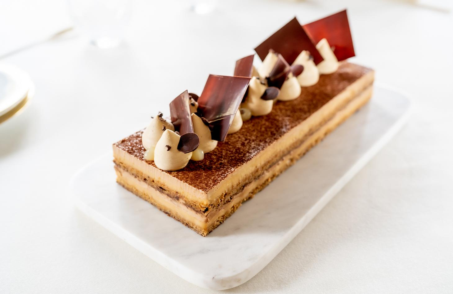 Maracaibo 65 Chocolate and Malted Barley Gateaux at Lalique restaurant at The Glenturret distillery in Scotland