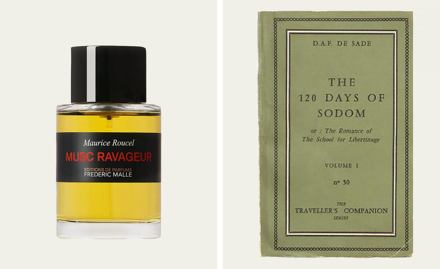 Frederic Malle Musc Ravageur perfumer in glass bottle with black label, next to old edition of Marquis de Sade book with green cover