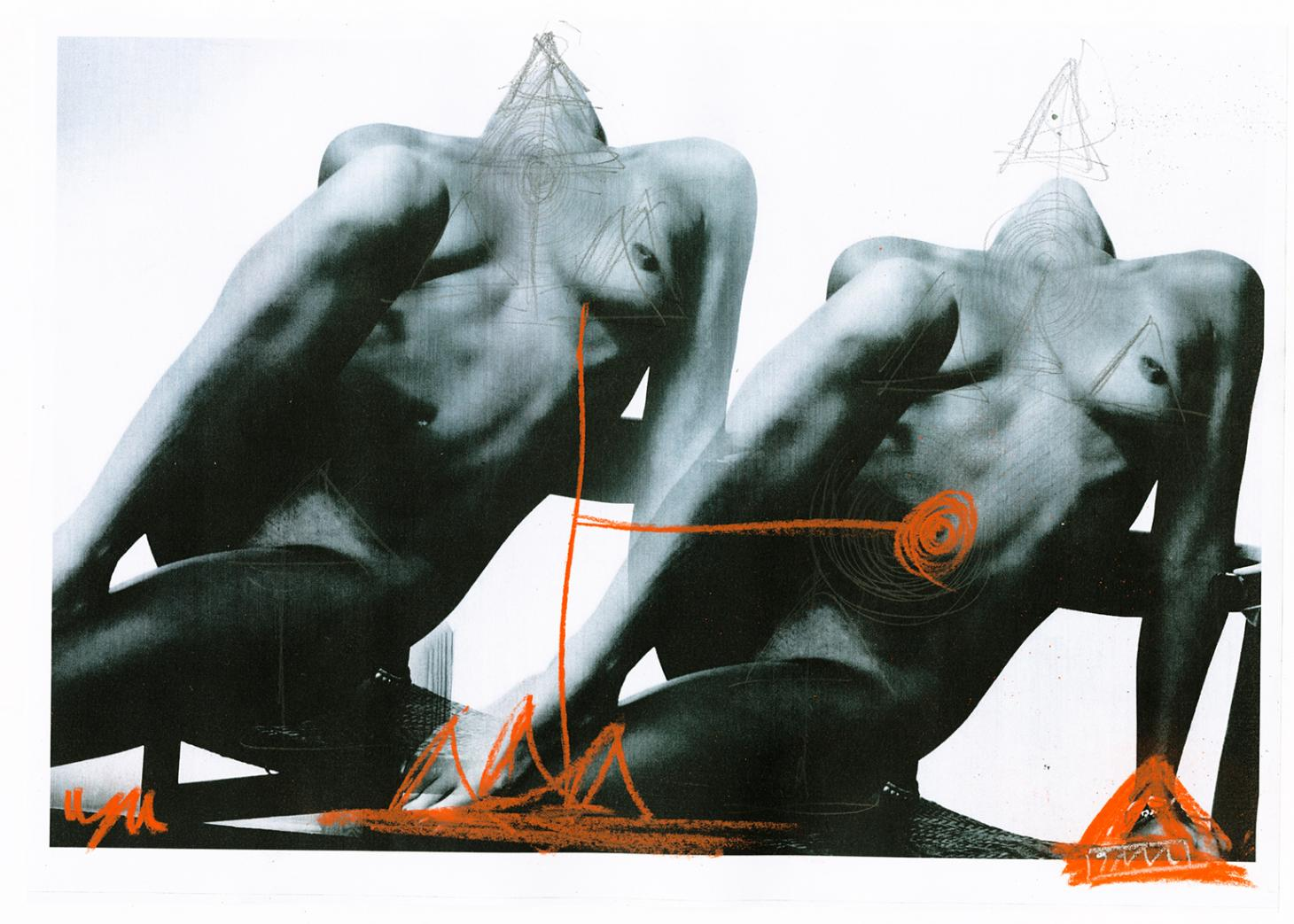 Lea Colombo image of black and white bodies with red drawings from Colours of My Body