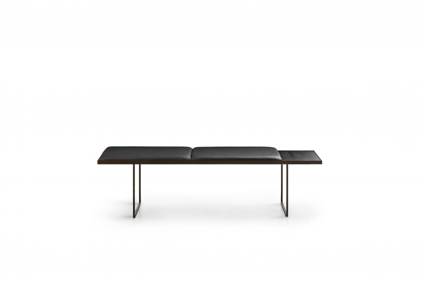 Simple bench with leather seat