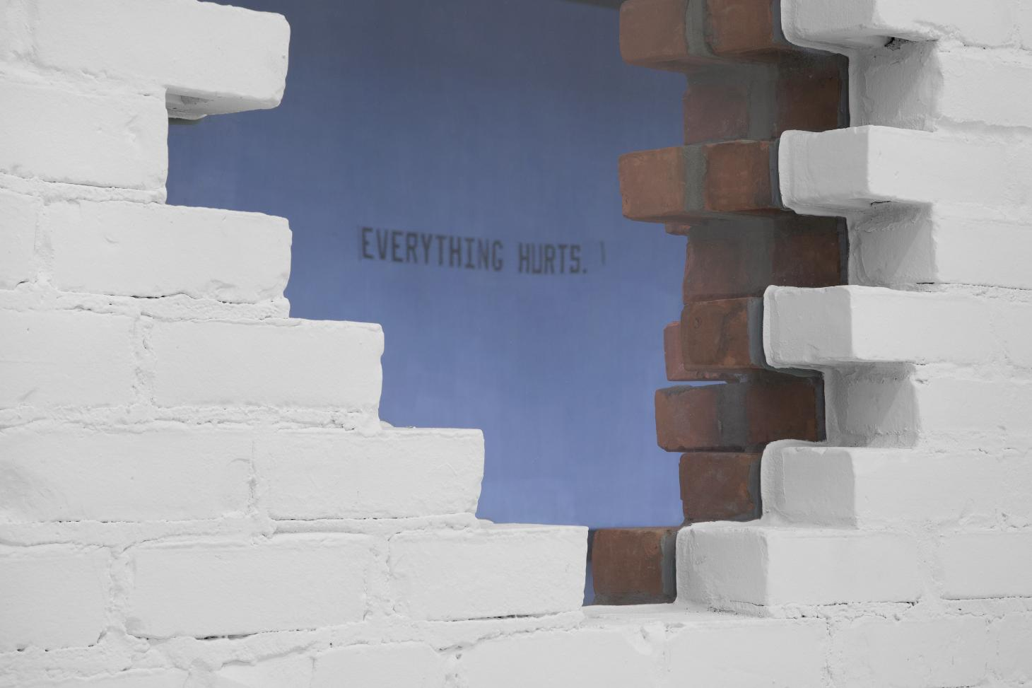 Image of Jammie Holmes' 2020 artwork Everything Hurts as viewed through the portal on Library Street Collective's new gallery