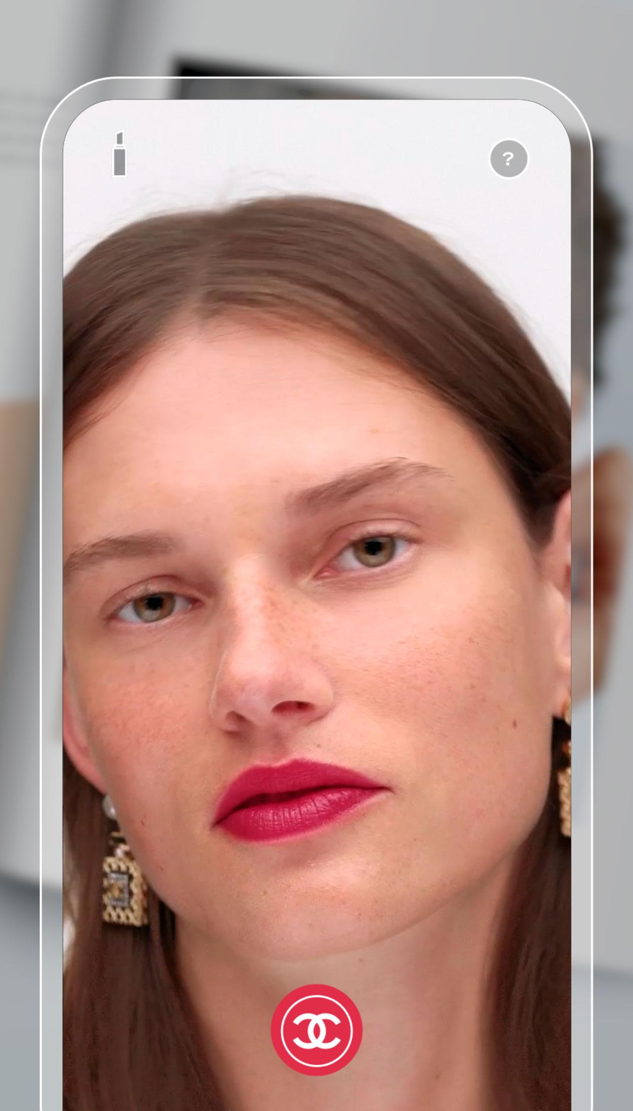 chanel lipscanner app on iphone showing try on technology on woman