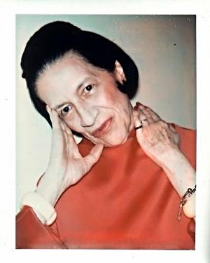 Diana Vreeland in red dress and blush by Andy Warhol