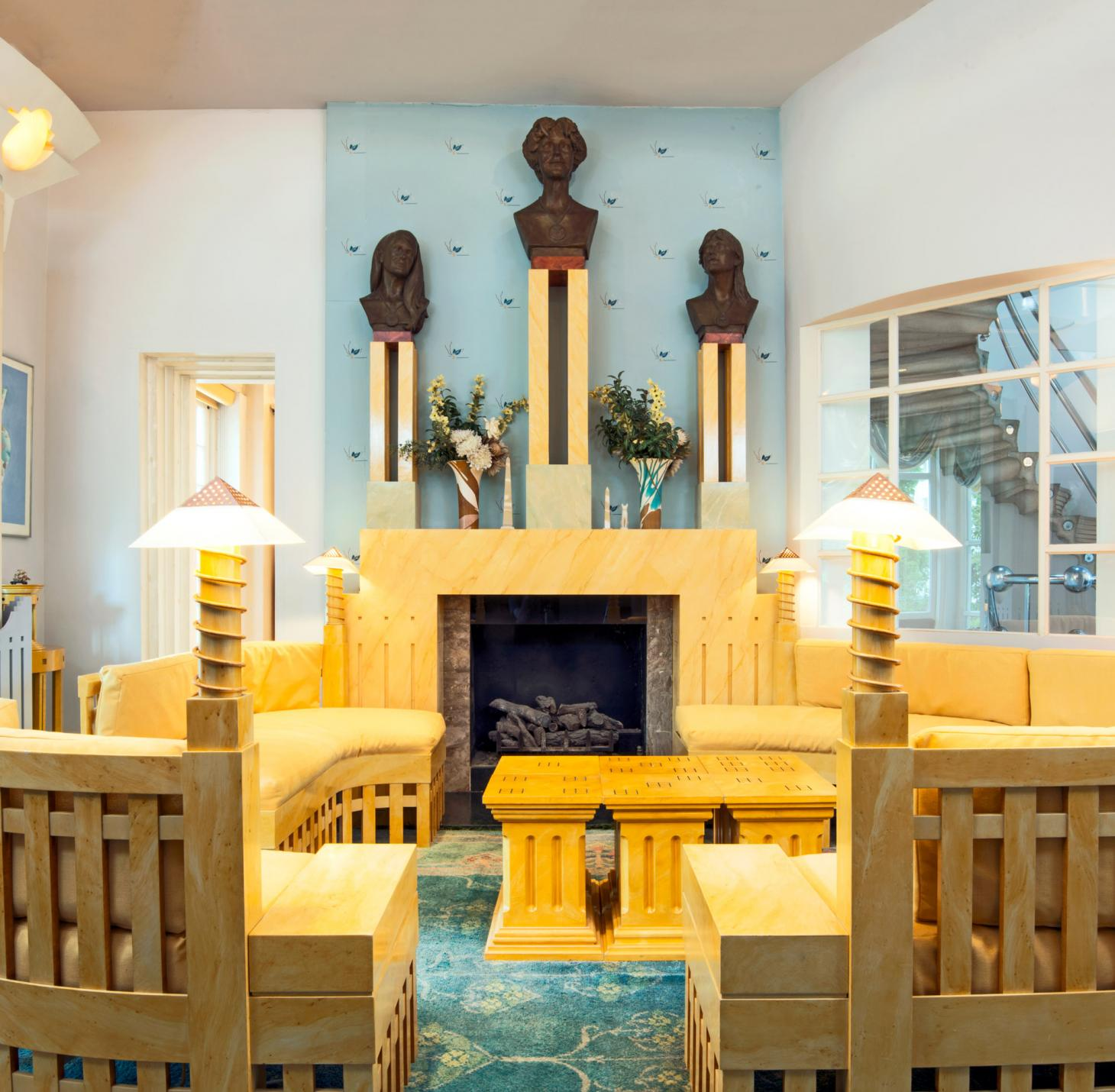living room at Charles Jencks' Cosmic House as it turns into museum