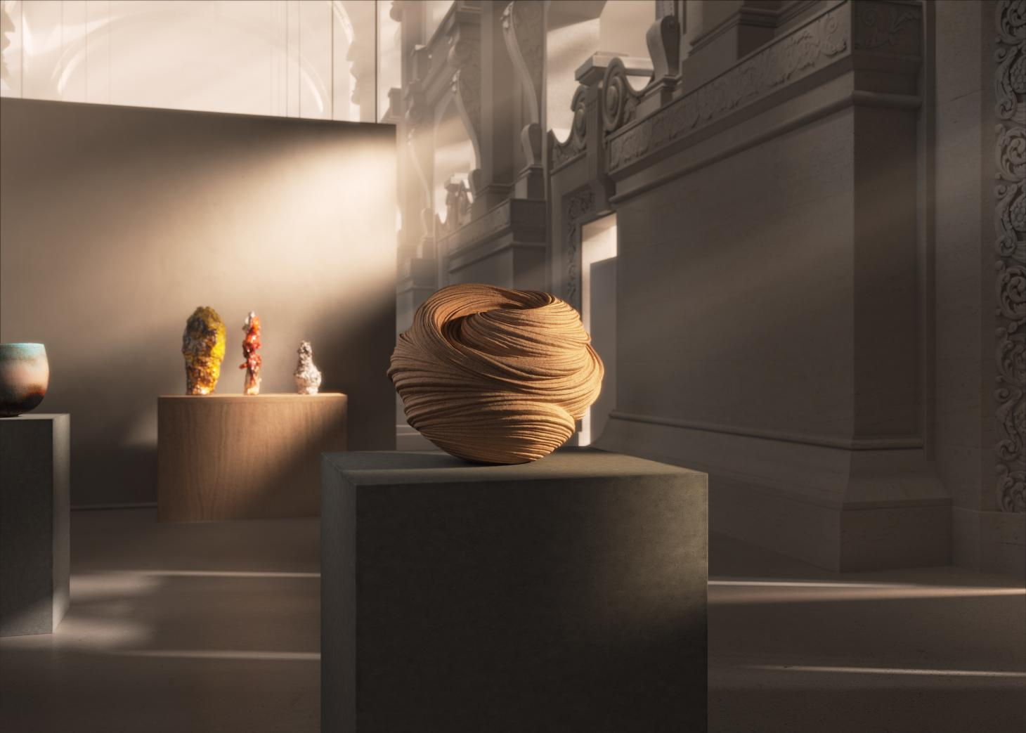 A render replicating the Great Hall of the Musée des Arts Décoratifs, Paris, with a virtual exhibition of the Loewe Foundation Craft Prize. The ceramic work of Takayuki Sakiyama, special mention from the jury, can be seen in the picture