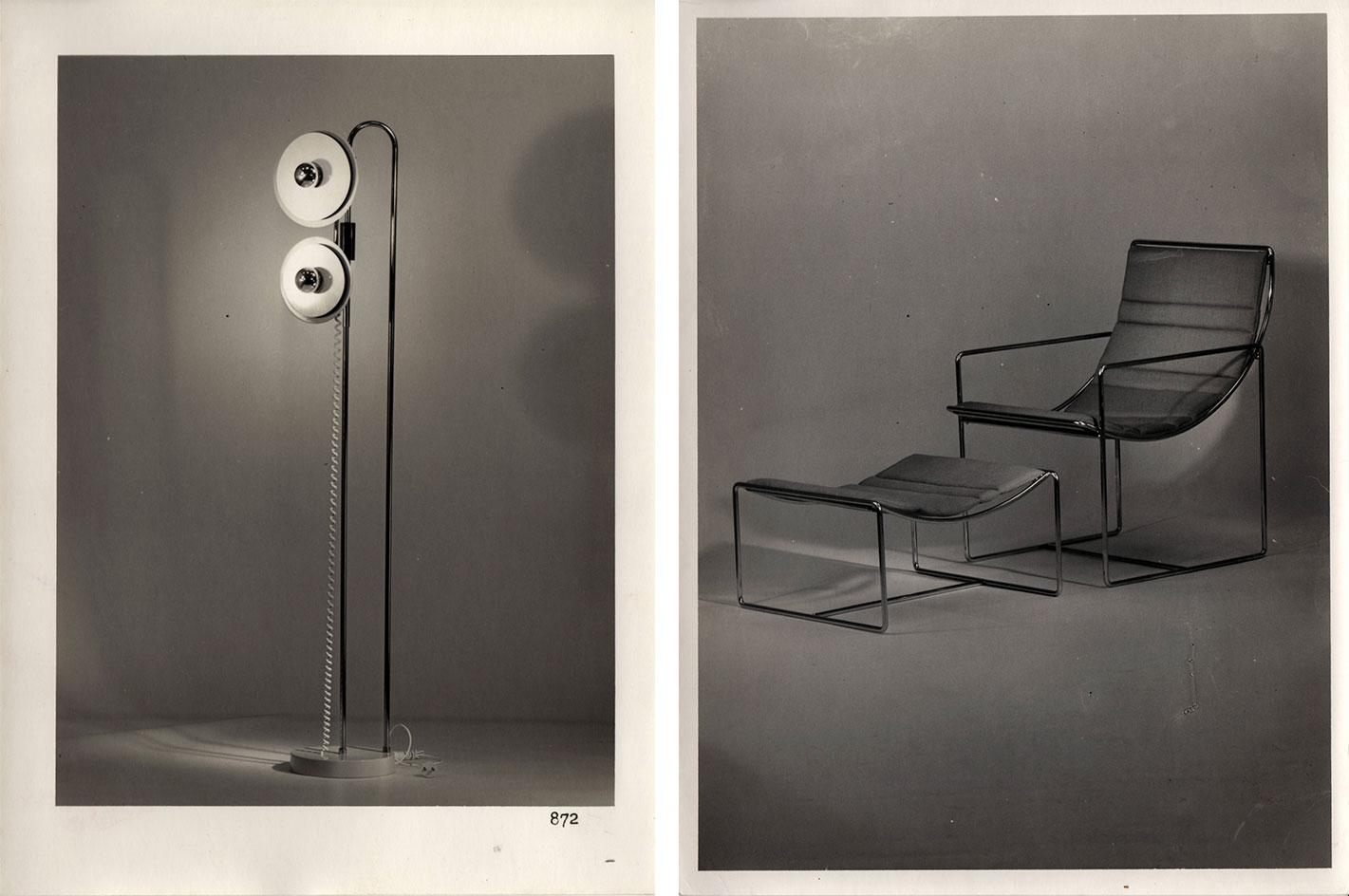 Two black and white photographs showing original models of a lamp (left) with a chrome base and two eye-like lights, and a chair with ottoman (right) with chrome structure and fabric seats