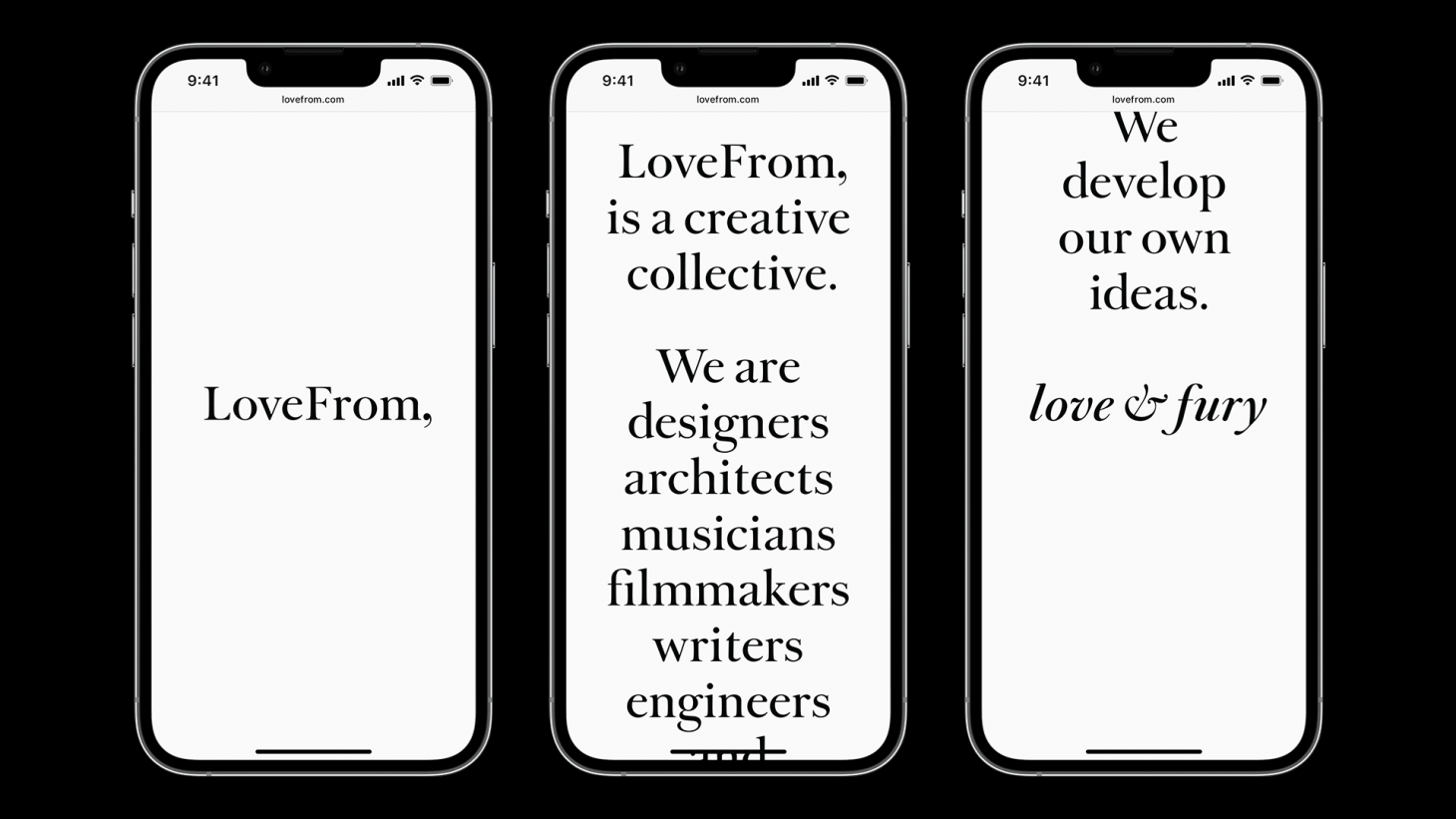 LoveFrom website launch –3-up mock-up on iPhone