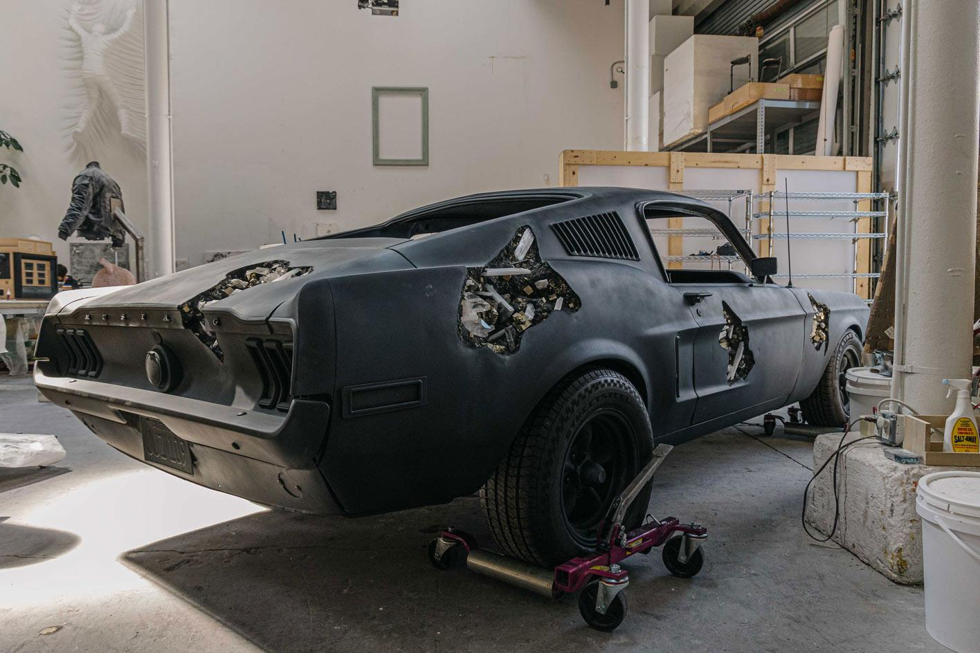 Daniel Arsham's sculpture of a black Ford Mustang