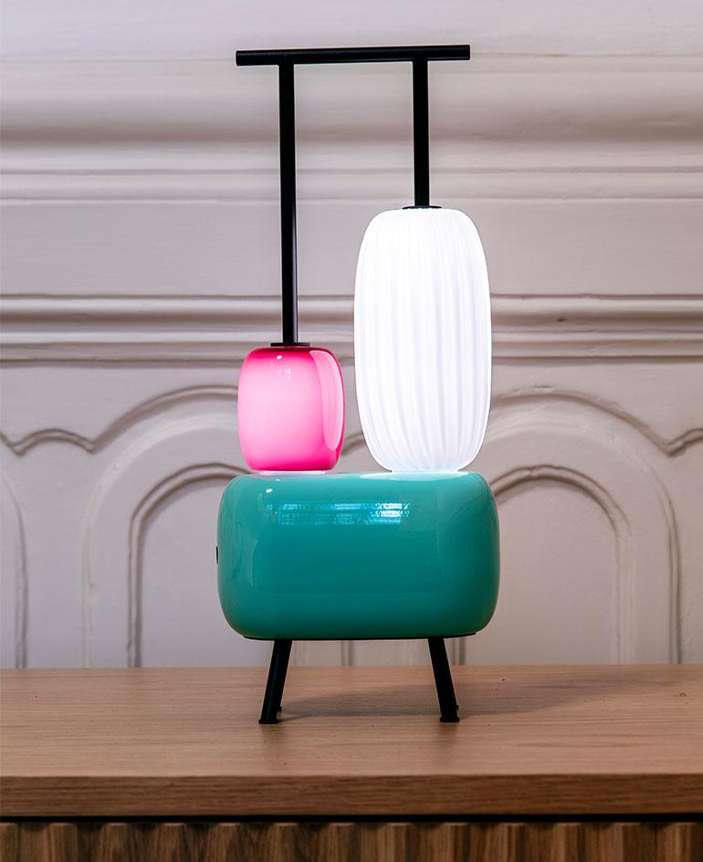 Lamp made of colourful blown glass shapes by Luca Nichetto and Stellarworks