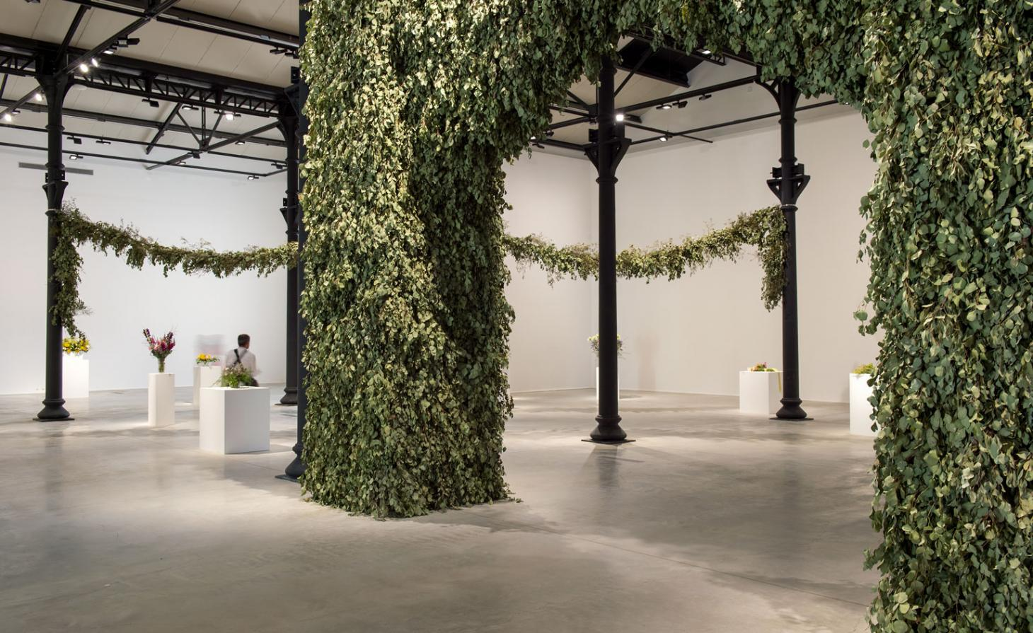 An exhibiton space filled with green plants