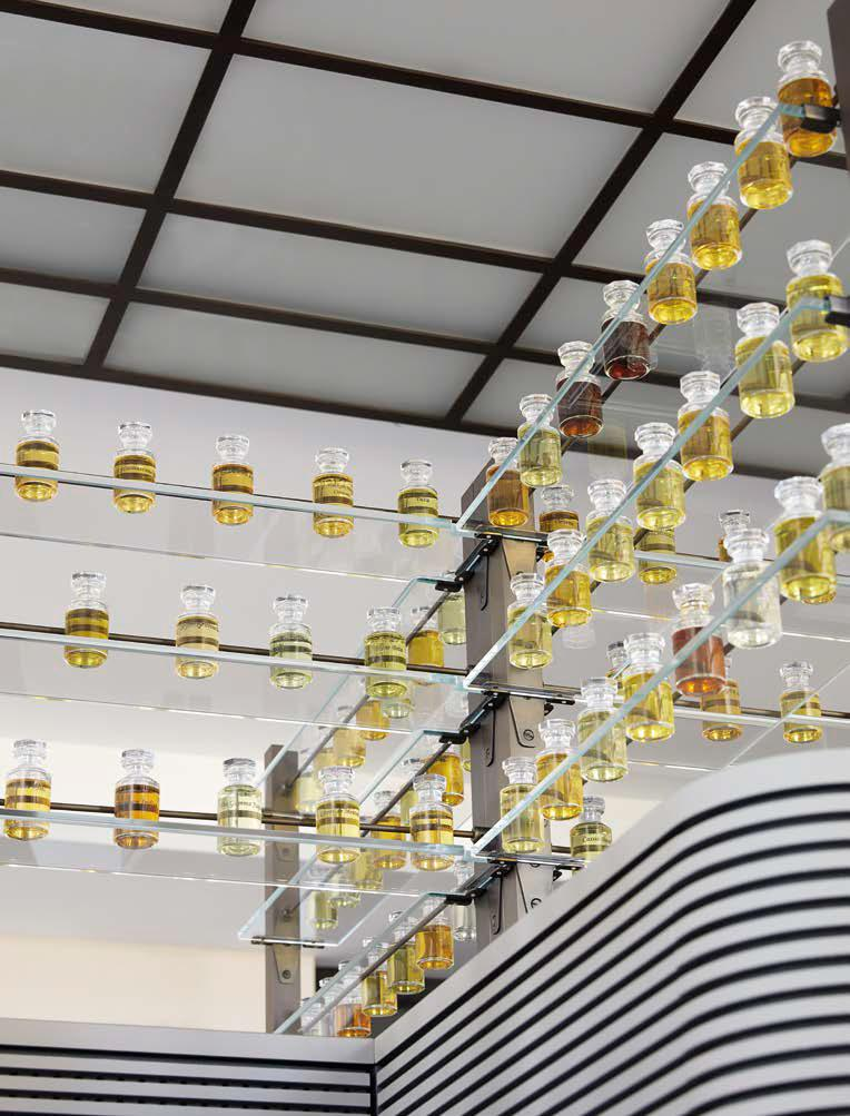 bottles of Louis Vuitton perfume in the laboratory at the Grasse estate