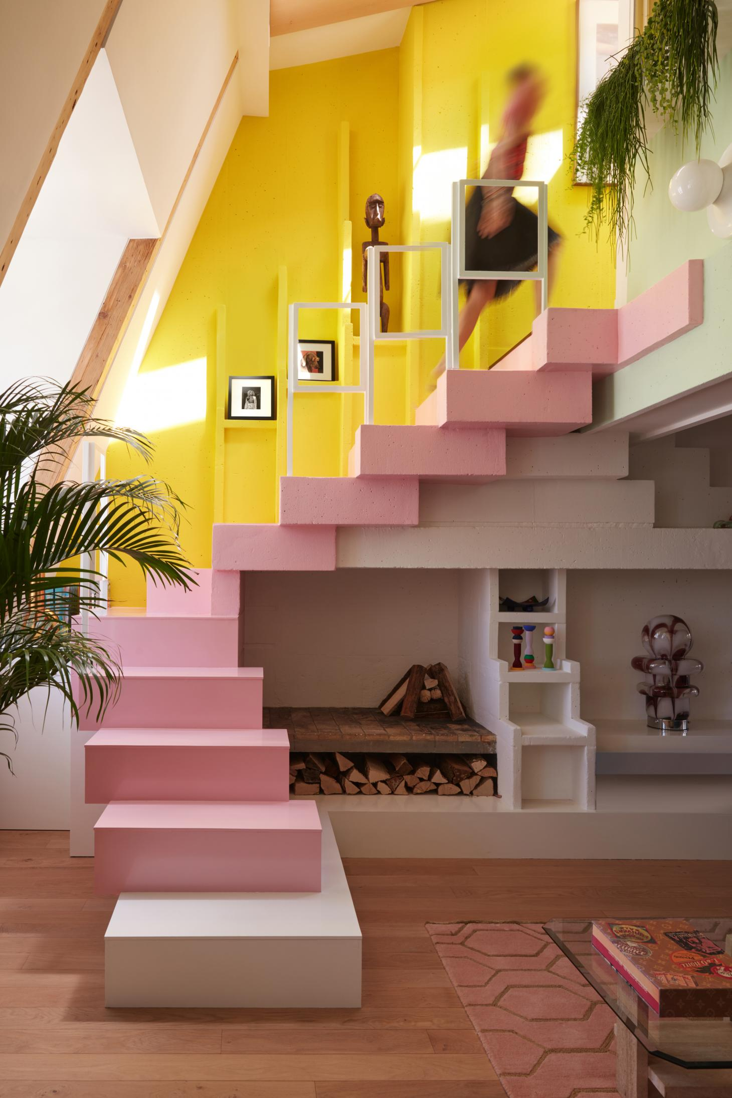 bespoke colourful staircase at apartment in Paris by architect Manuelle Gautrand