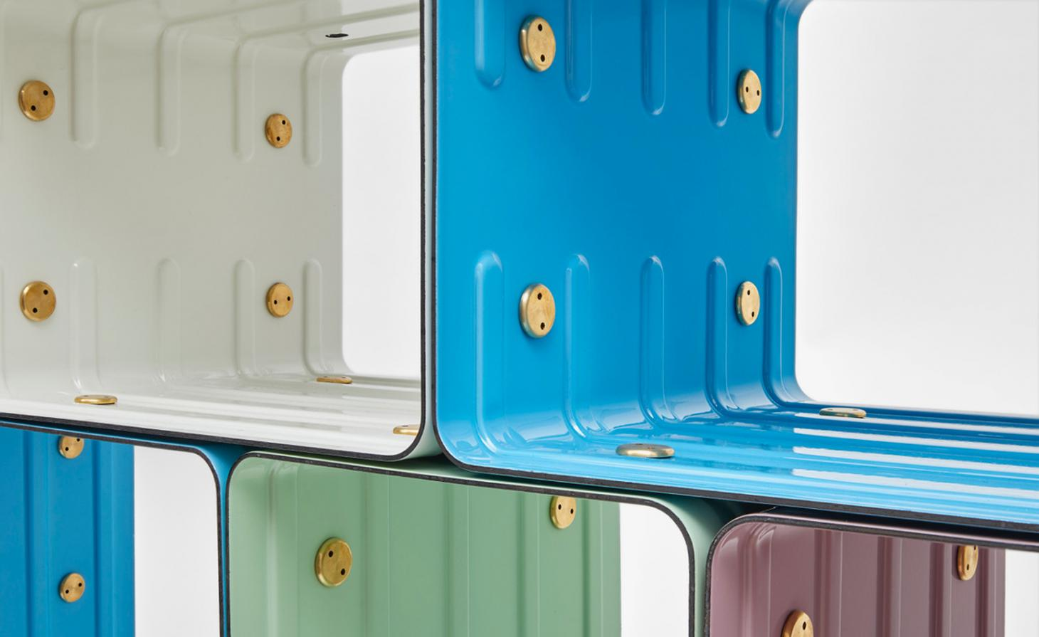 brightly coloured shelving units