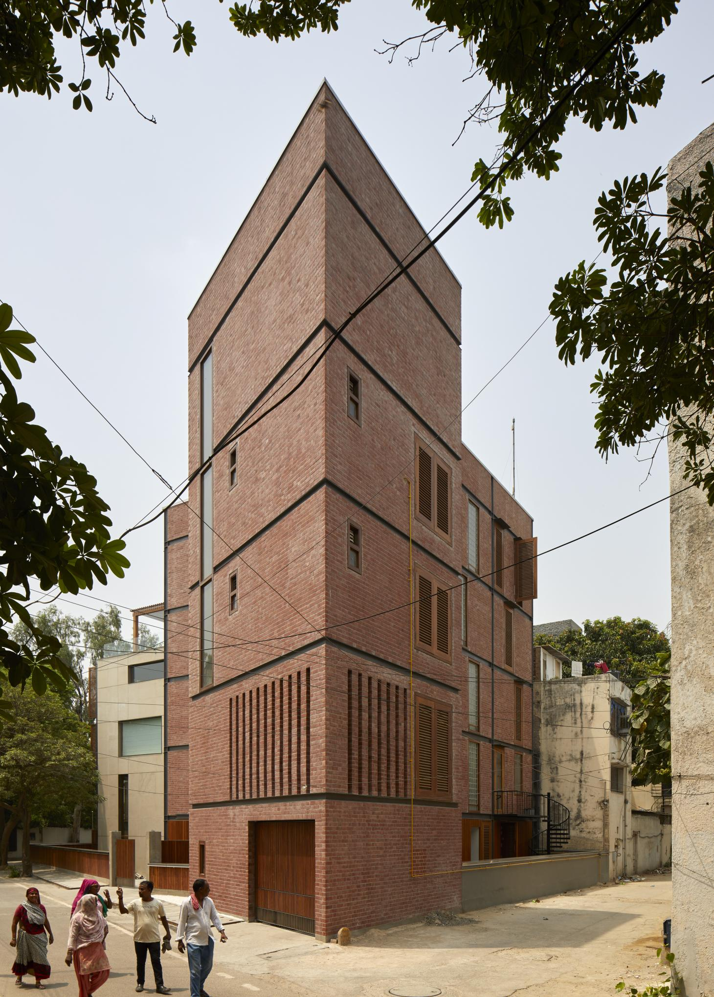 Brick facade of Martand Khosla's house in South Delhi
