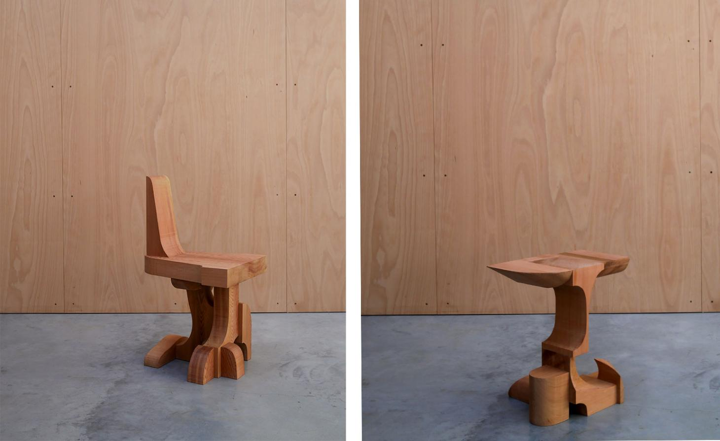 A pair of chairs made of red cedar wood. Each chair is composed like a puzzle, using the elements cut from a single block of wood.