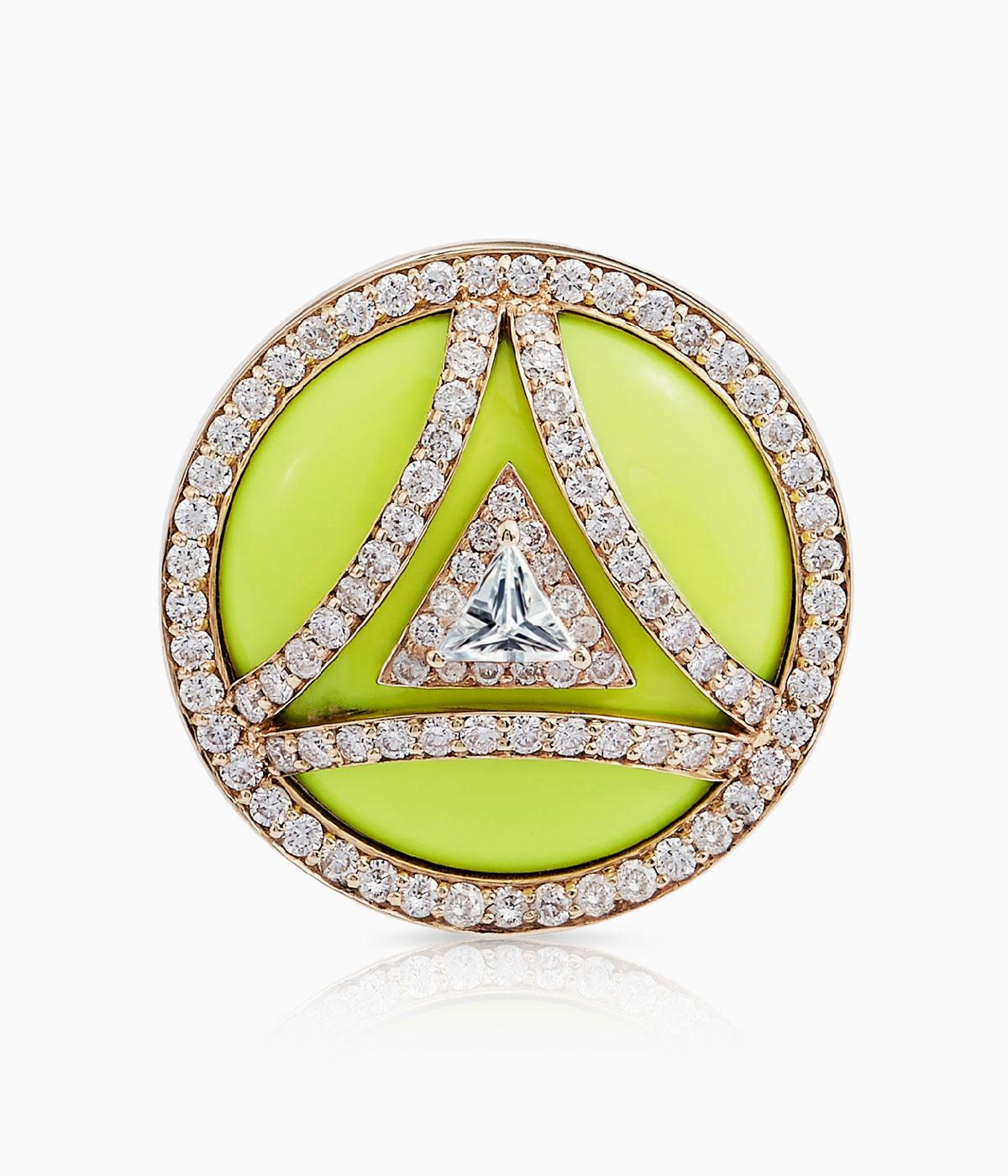 Ring with yellow enamel criss crossed with diamonds