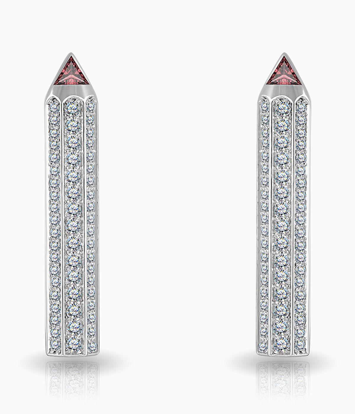 maya gemstones diamond pencil earrings