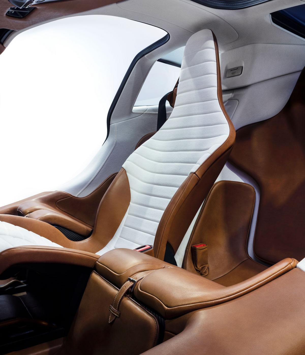 A brown leather seat in a sports car