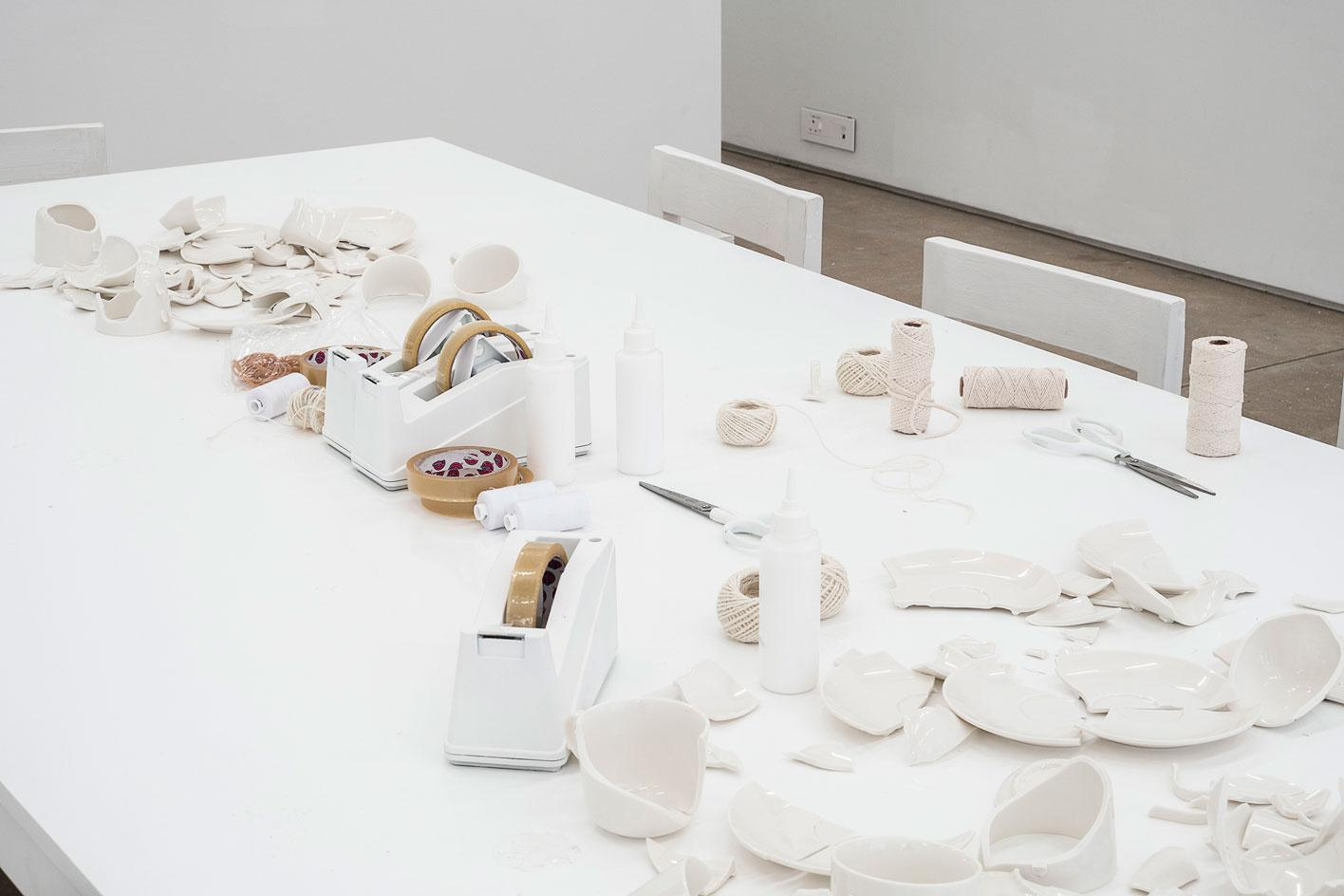 Yoko Ono Mend Piece 1966/ 2018 Broken cups and saucers, thread, glue, tape Installation view: 'You & I', A4 Arts Foundation, Cape Town, South Africa, 2018 Image courtesy the artist / photo: Kyle Morland