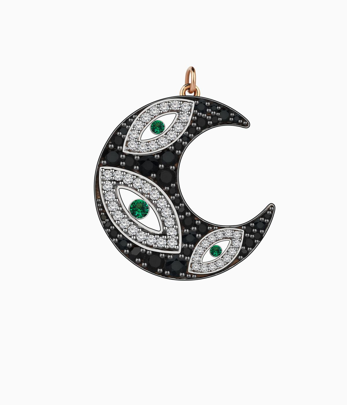Black crescent charm with diamond and emeralds