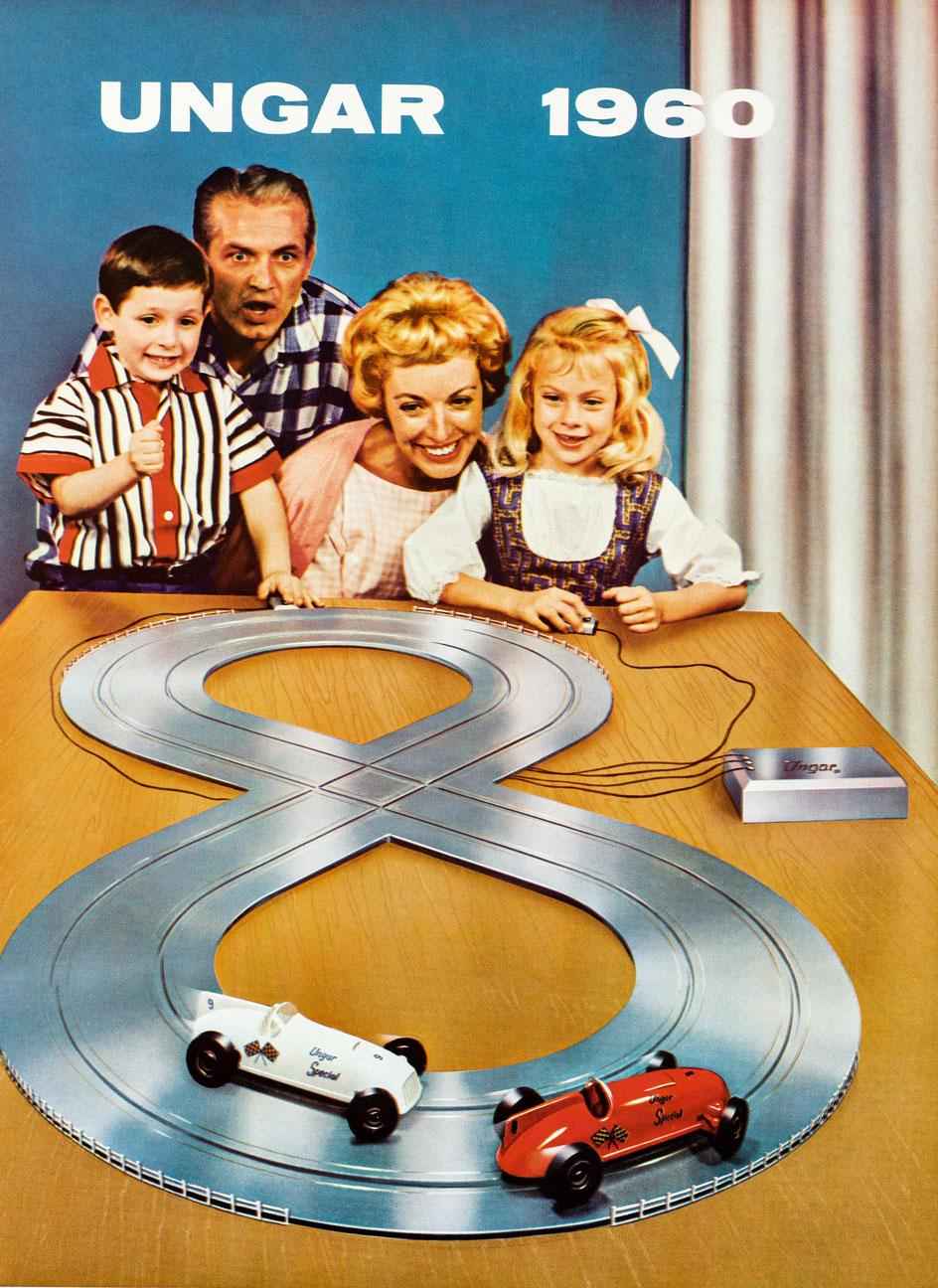 Advert for Ungar train set from 1960 showing a familiar of four. from Toys. 100 Hundred Years of All-American toy advertising