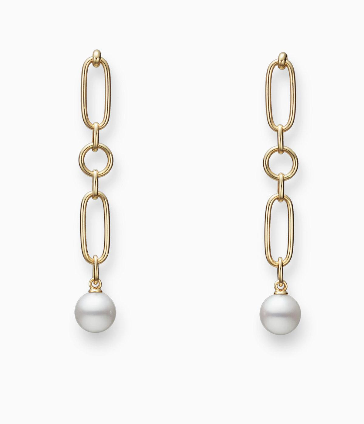 Mikimoto pearl and gold chain earrings
