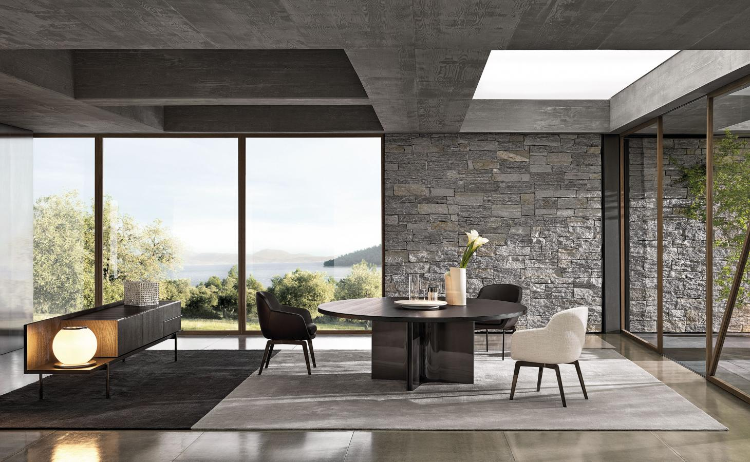 Marvin table by Rodolfo Dordoni for Minotti in a dining room setting