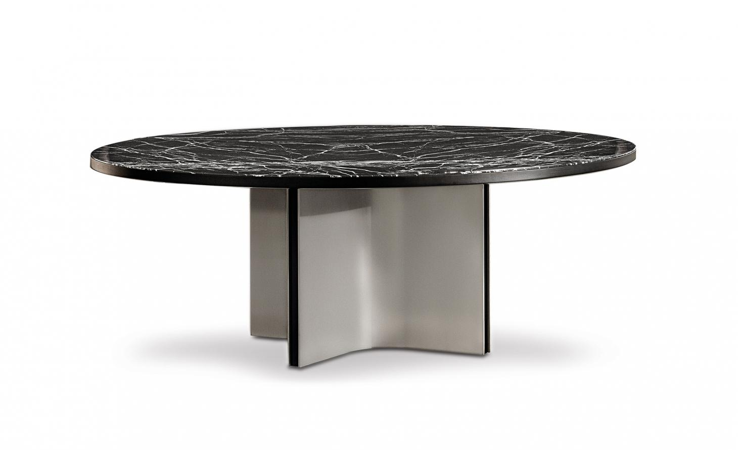 Marvin table by Rodolfo Dordoni for Minotti with marble top and metal base