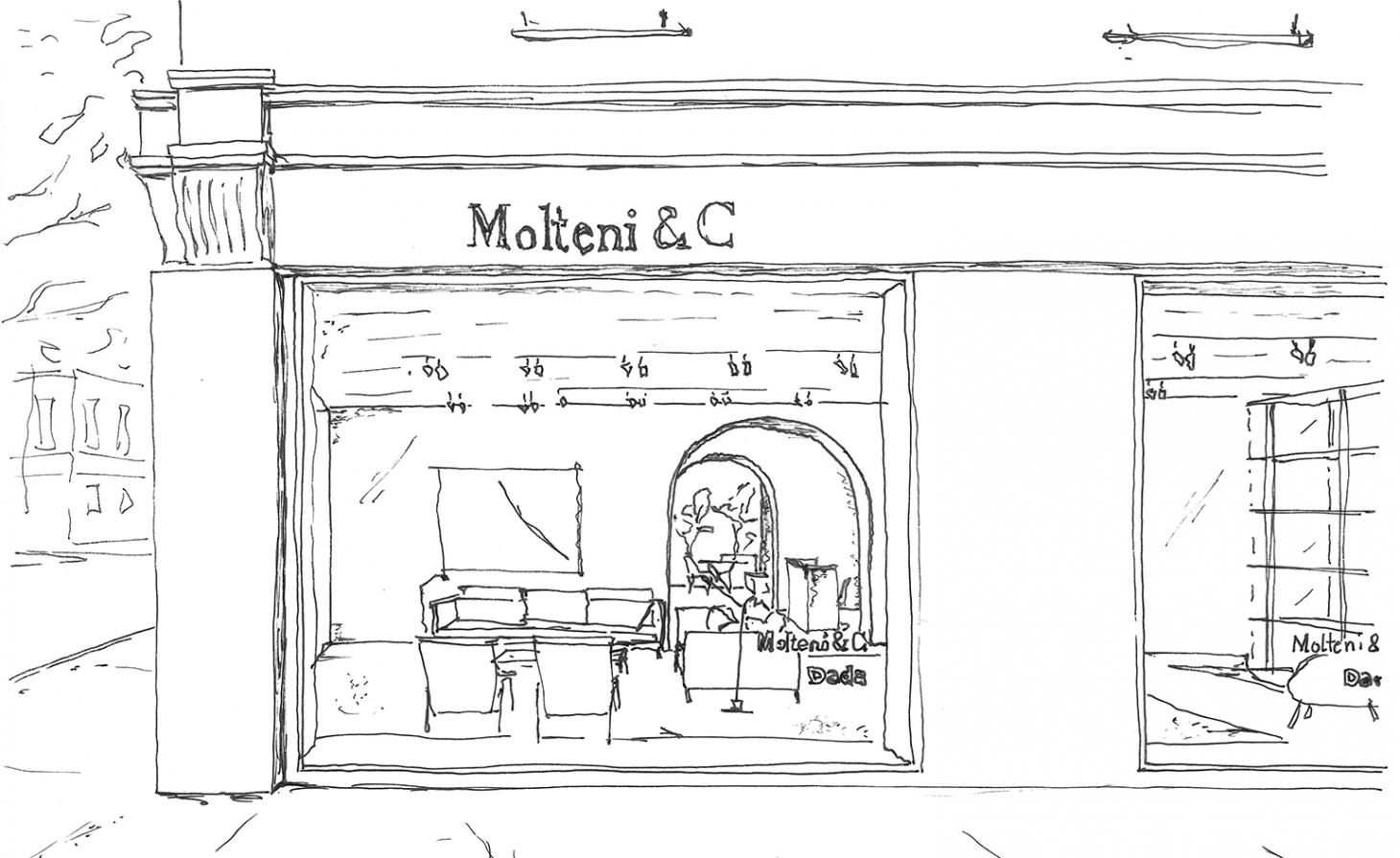 Hand sketch by Vincent Van Duysen of the new Molteni & C showroom