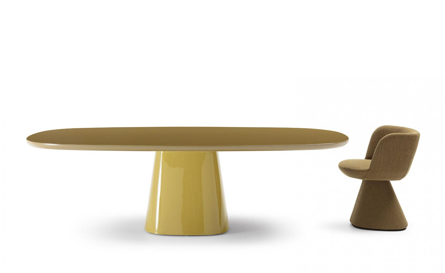 Yellow glossy table and textile upholstered chair by Monica Armani for B&B Italia