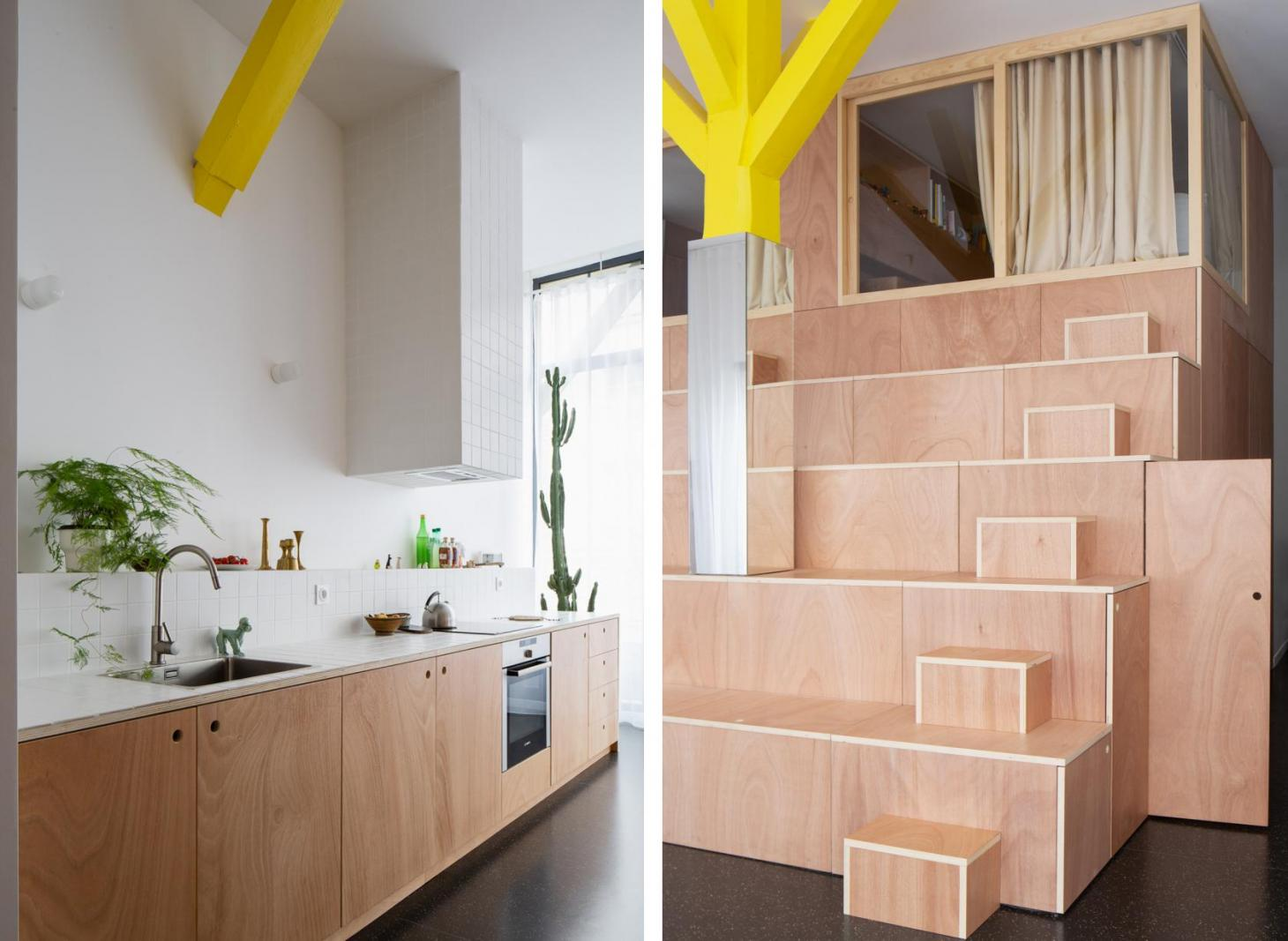A paired image sees a wooden interior storage space