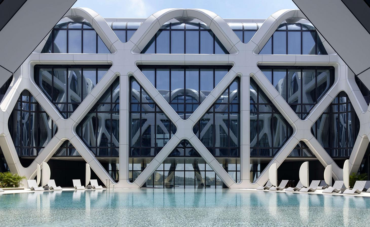 Swimming pool at Zaha Hadid Architects' Morpheus hotel, Macau, China