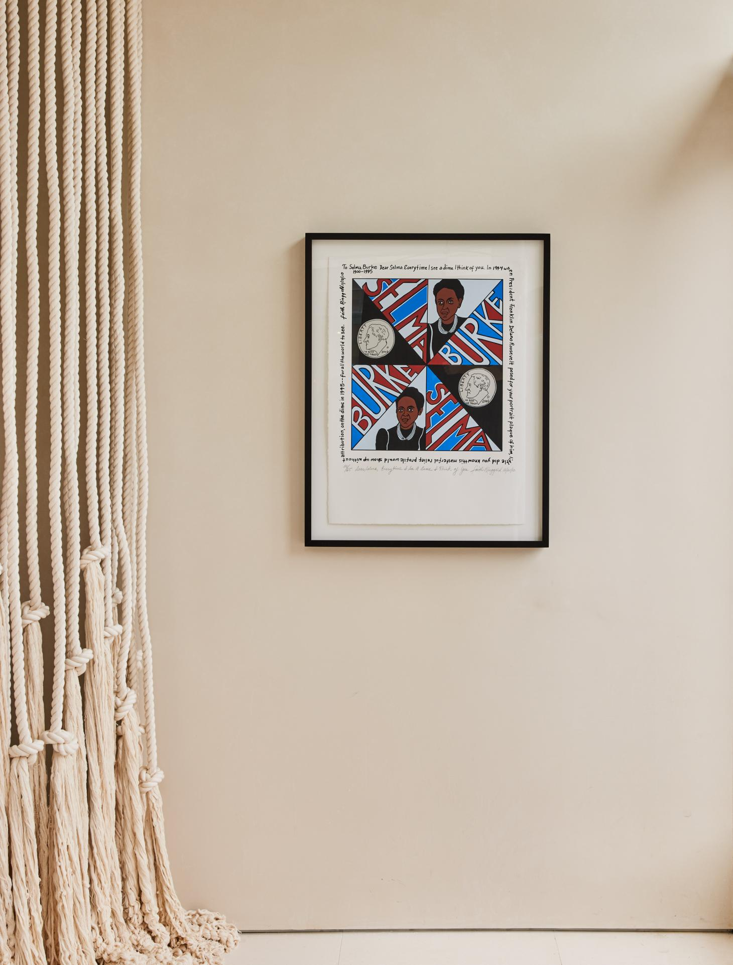 Artwork by Faith Ringgold titled 'Dear Selma, Every Time I See A Dime, I Think Of You' on the wall