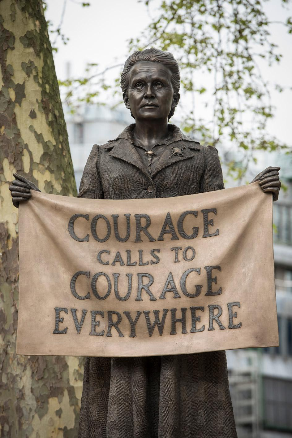 Gillian Wearing's statue of suffragette Millicent Fawcett, 2018 bronze on marble plinth. Commissioned by the the Mayor of London for Parliment Square in London