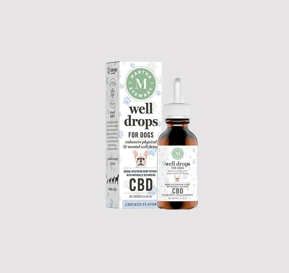 Martha Stewart CBD well drops for dogs against grey background
