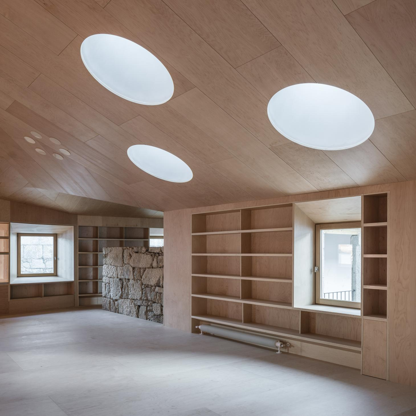 Baiona Library timber interior, designed by Murado & Elvira