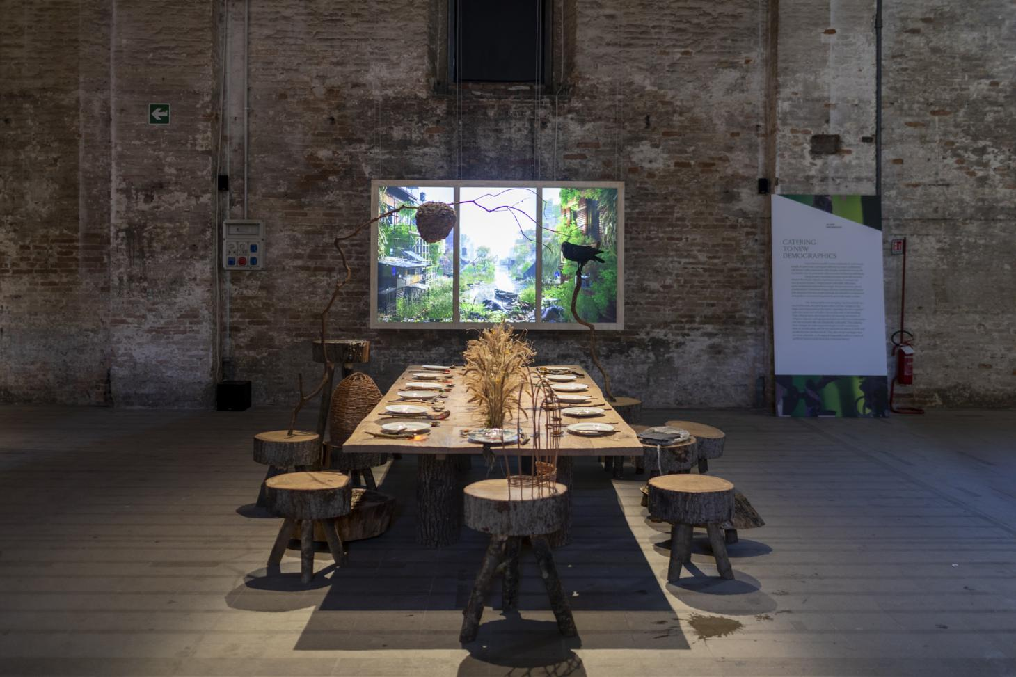 superflux dining table at 2021 Venice architecture biennale