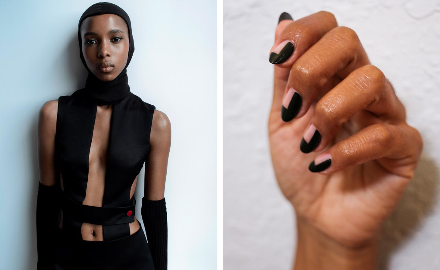 Hood, price on request; dress, arm warmers,all by Maximilian. Photography by Douglas MacArthur. Fashion by Brilliant Nyansago. Next to black geometric nails.
