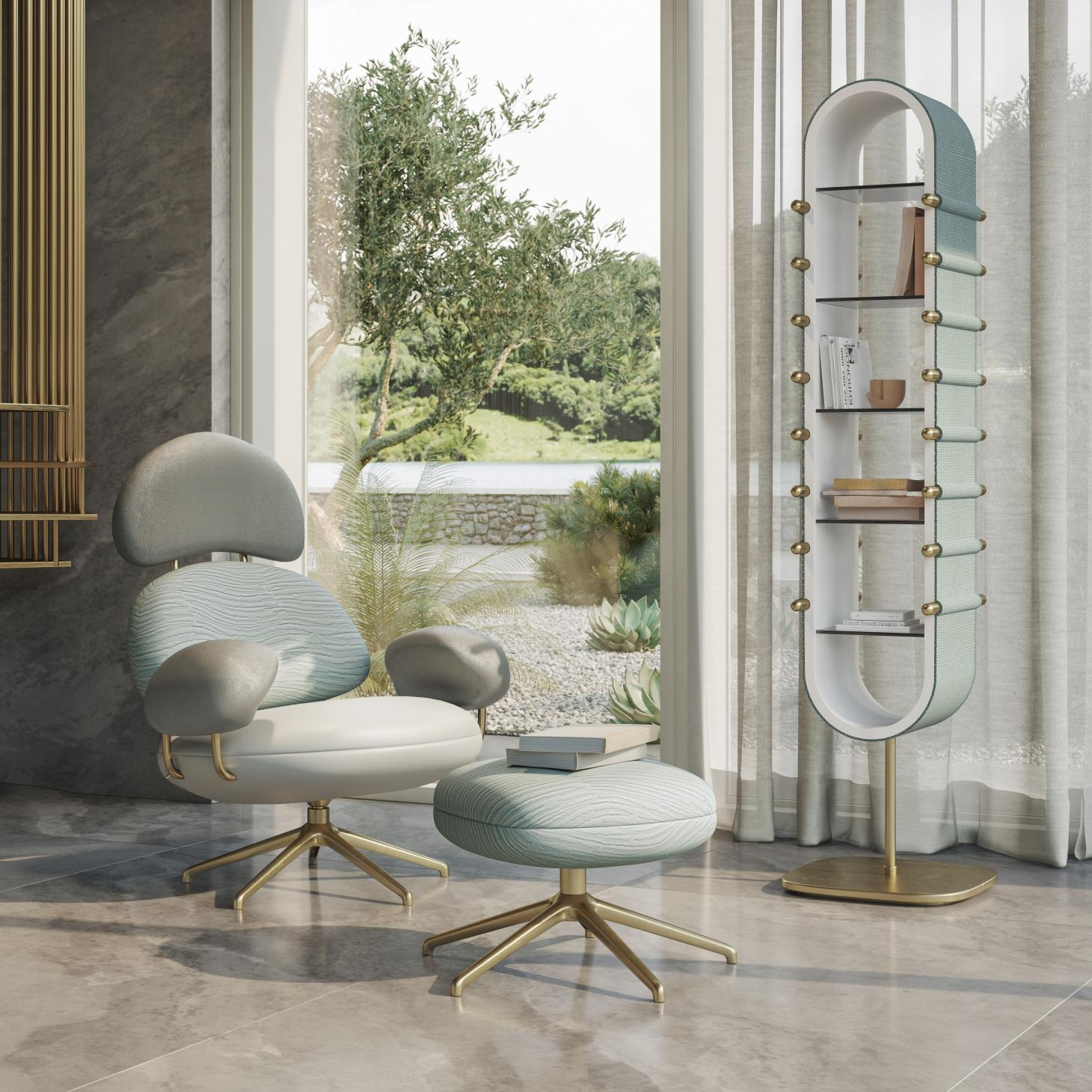Chair and bookcase by Elena Salmistraro with light blue and white textile