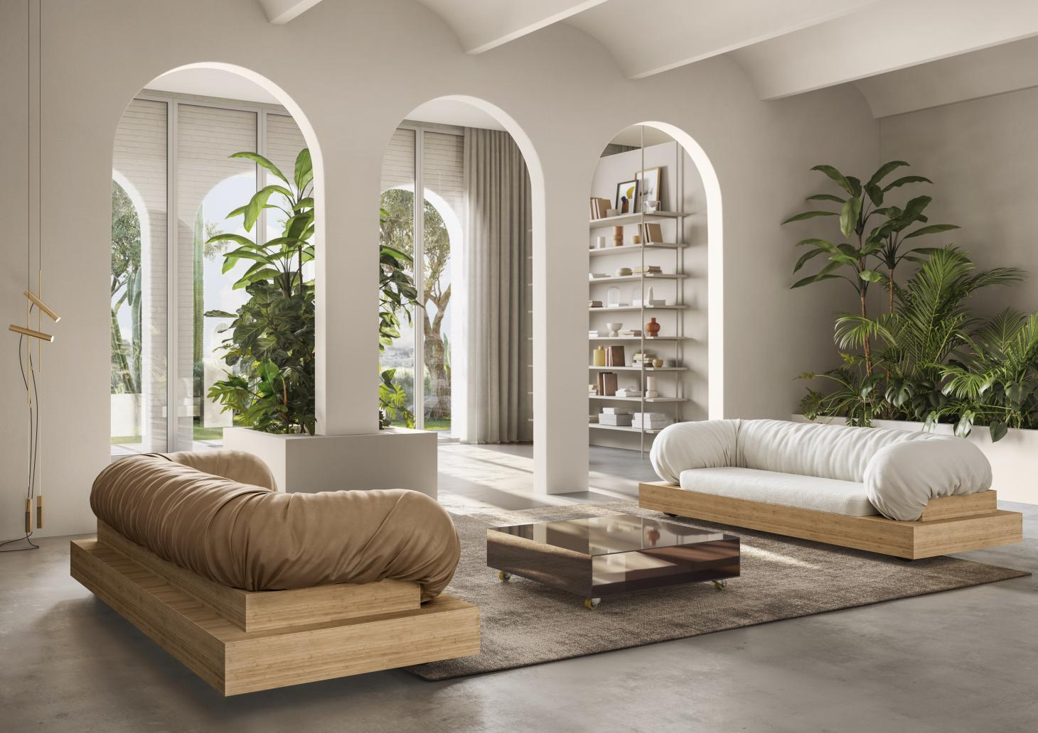 Sabine Marcelis sofas for Natuzzi with wheeled wooden bases and leather seats and back in white and brown