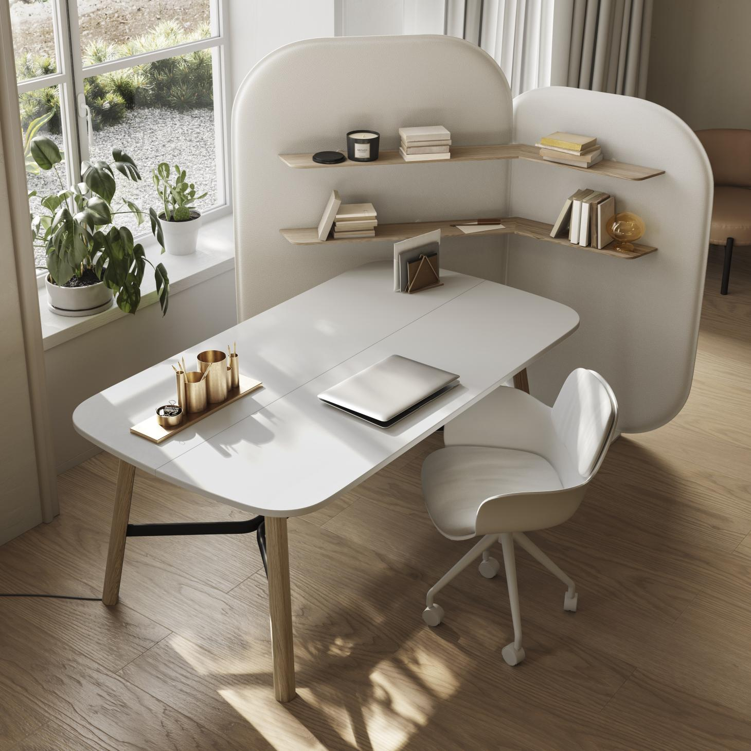 White desk with shelving and partition on one side