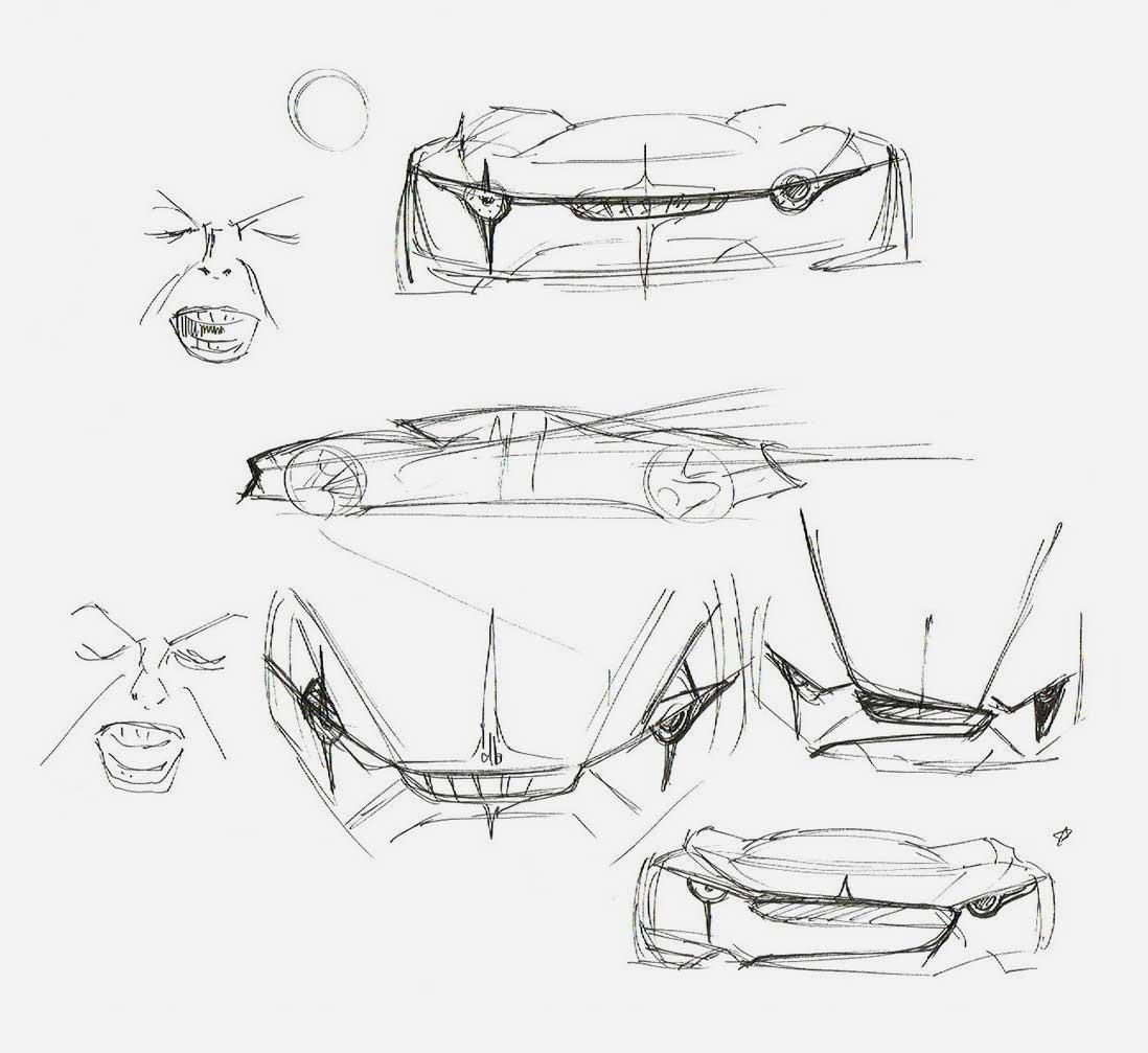 David Bowie 'db' concept car research sketches