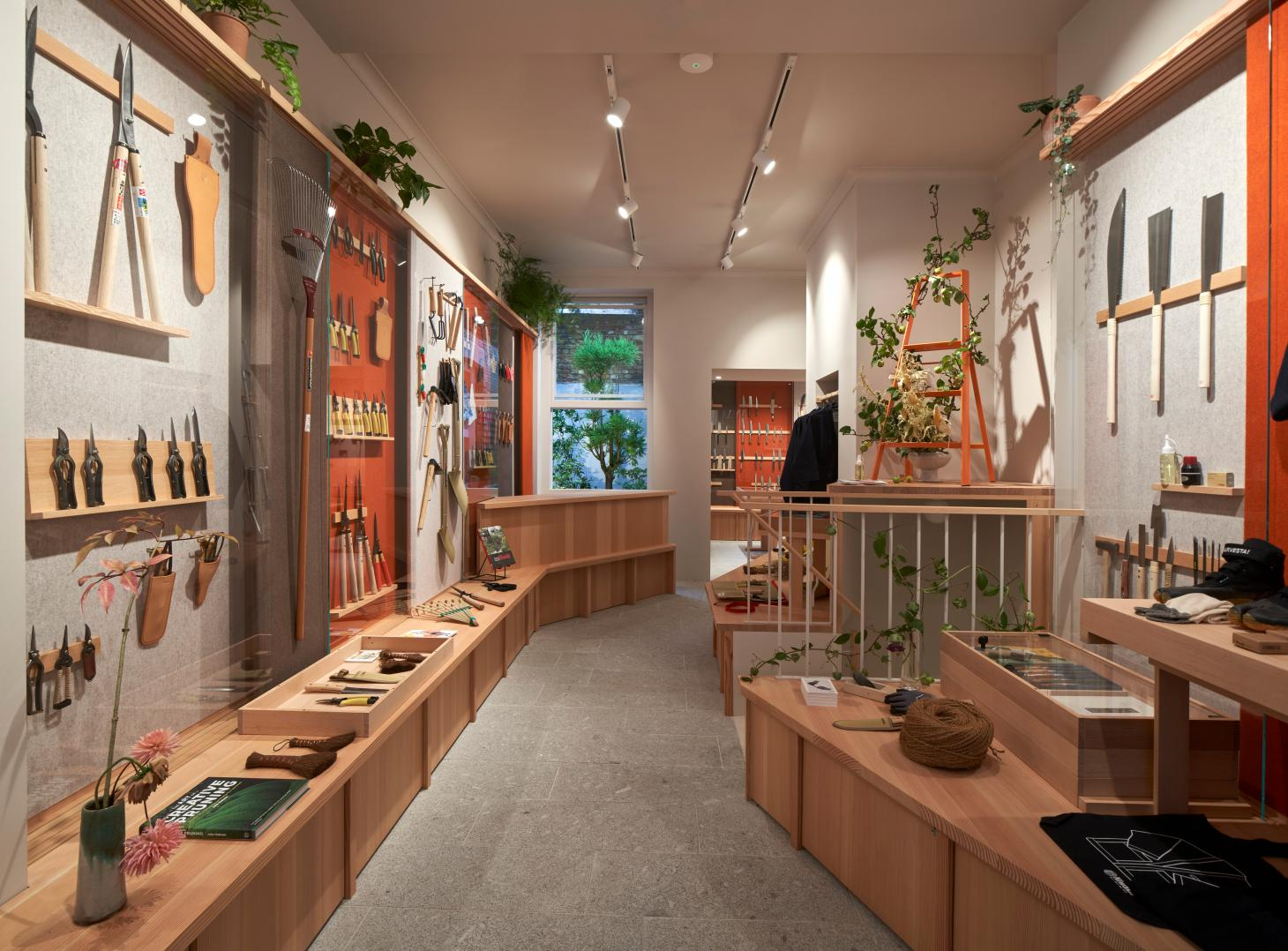 Interiors of Niwaki shop for Japanese gardening tools and workwear on London's Chiltern Street